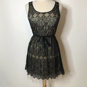 Pinky Black Lace Dress Size M Tan Lining Tulle